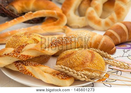 Selection of French & Danish pastries, continental breakfast