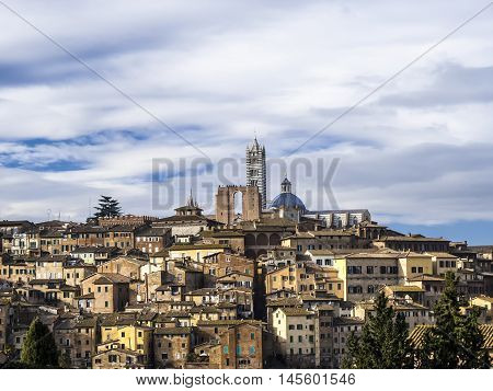 Palazzo Publico And Piazza Del Campo In Siena ,italy , Historic Center Of Siena Is A Unesco World He