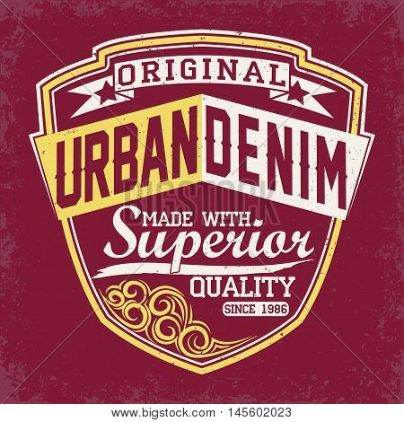 Vintage Denim  typography, grunge  t-shirt graphics, vintage grunge Artwork apparel stamp, Vintage Denim  wear tee print design,  Denim goods emblem, vector