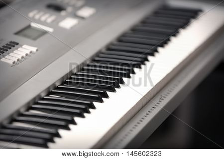 Electronic synthesizer, closeup