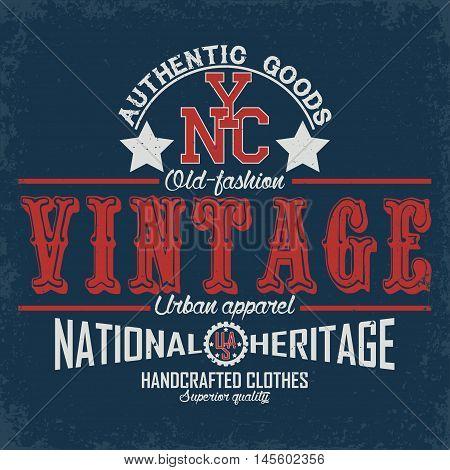 Vintage typography emblem, grunge  t-shirt graphics,  artwork apparel stamp, tee print design, vector