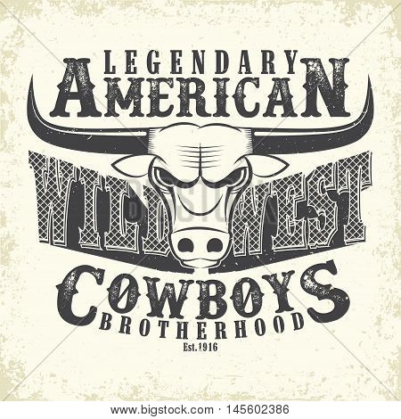 Vintage typography, Wild West t-shirt graphics,  apparel stamps, tee print design, vintage cowboy emblem, vector