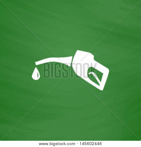 Gasoline pump nozzle Simple vector button. Imitation draw icon with white chalk on blackboard. Flat Pictogram and School board background. Illustration symbol