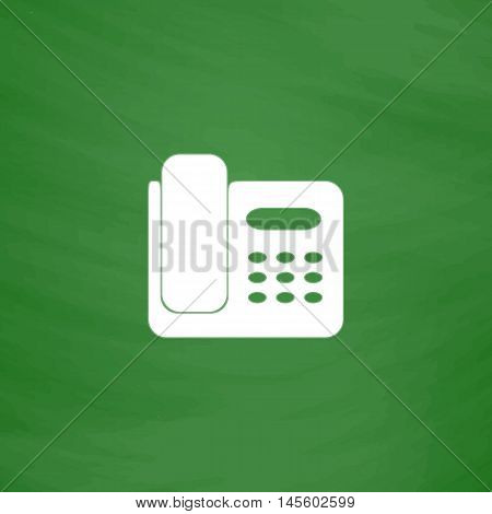 Office Phone Simple vector button. Imitation draw icon with white chalk on blackboard. Flat Pictogram and School board background. Illustration symbol