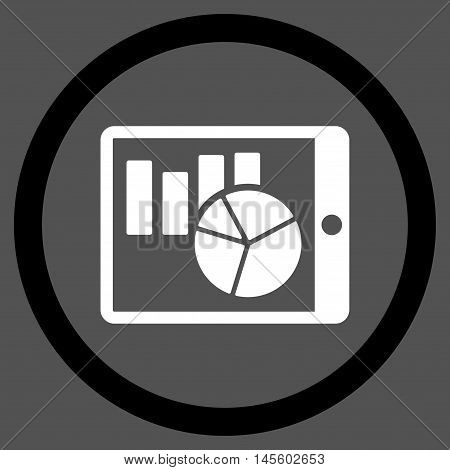 Charts on Pda vector bicolor rounded icon. Image style is a flat icon symbol inside a circle, black and white colors, gray background.
