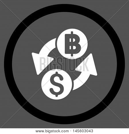 Dollar Baht Exchange vector bicolor rounded icon. Image style is a flat icon symbol inside a circle, black and white colors, gray background.