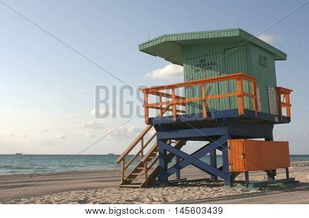 Colorful lifeguard tower in Miami Beach, Florida