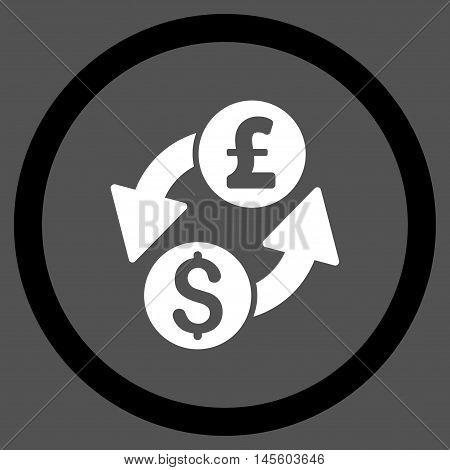 Dollar Pound Exchange vector bicolor rounded icon. Image style is a flat icon symbol inside a circle, black and white colors, gray background.