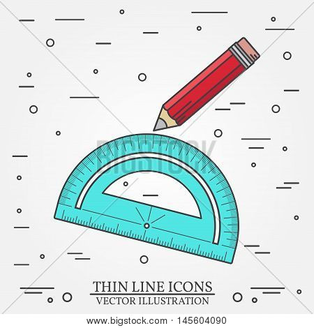 Protractor And Pencil Icon.