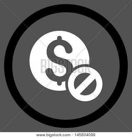Free of Charge vector bicolor rounded icon. Image style is a flat icon symbol inside a circle, black and white colors, gray background.