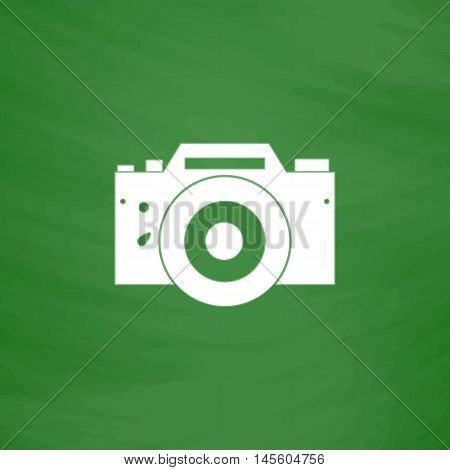 Camera Simple vector button. Imitation draw icon with white chalk on blackboard. Flat Pictogram and School board background. Illustration symbol