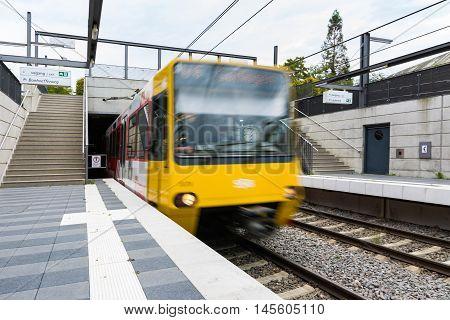 Stuttgart Public Transport Subway Front Moving Train