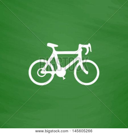 Bicycle icon Simple vector button. Imitation draw icon with white chalk on blackboard. Flat Pictogram