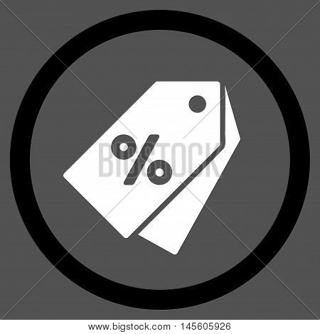Percent Discount Tags vector bicolor rounded icon. Image style is a flat icon symbol inside a circle, black and white colors, gray background.