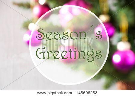 Christmas Tree With Rose Quartz Balls. Close Up Or Macro View. Christmas Card For Seasons Greetings. English Text Seasons Greetings