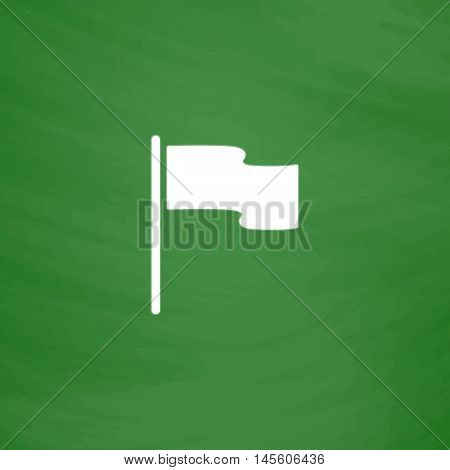 Flag Simple vector button. Imitation draw icon with white chalk on blackboard. Flat Pictogram and School board background. Illustration symbol