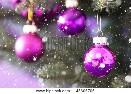 Blurry Christmas Tree With Rose Quartz Balls And Snowflakes. Close Up Or Macro View. Christmas Card For Seasons Greetings.