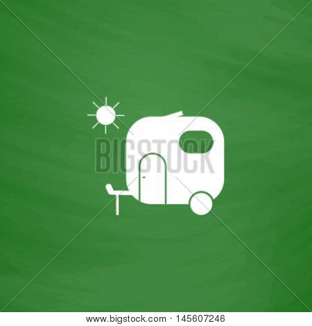 trailer Simple vector button. Imitation draw icon with white chalk on blackboard. Flat Pictogram