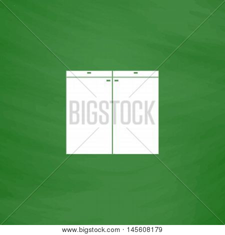 Drawer Simple vector button. Imitation draw icon with white chalk on blackboard. Flat Pictogram