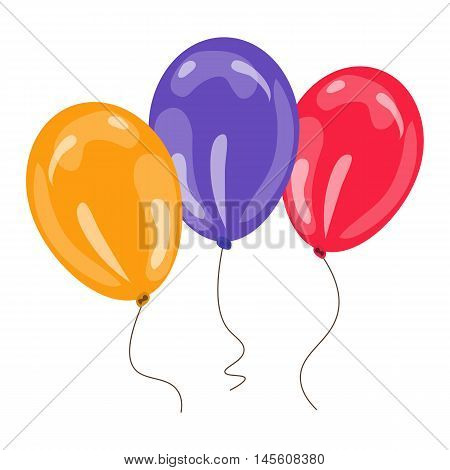 three colorful balloons isolated on white background. vector illustration