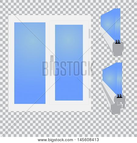 Plastic window, glazed sectional on checkered background. Vector illustration