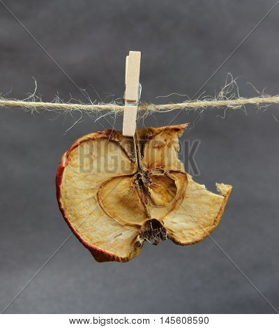 apple dried bitten on a rope with a clothespeg