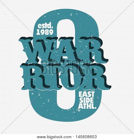 Warrior Athletics typography stamp, sport print, t-shirt vector emblem graphics, vintage wear tee print design
