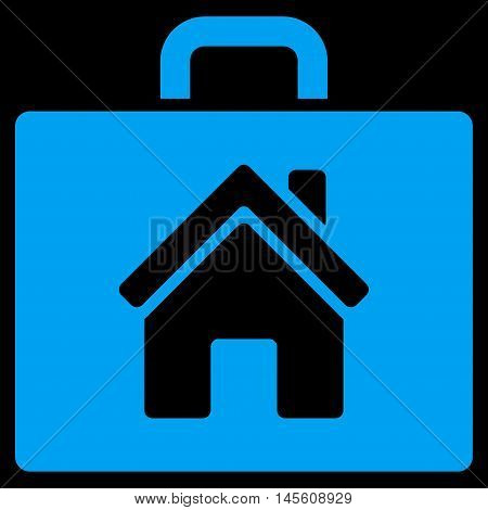 Realty Case icon. Vector style is flat iconic symbol, blue color, black background.