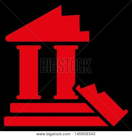 Historic Ruins icon. Vector style is flat iconic symbol, red color, black background.