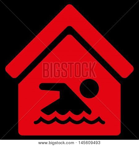 Indoor Water Pool icon. Vector style is flat iconic symbol, red color, black background.