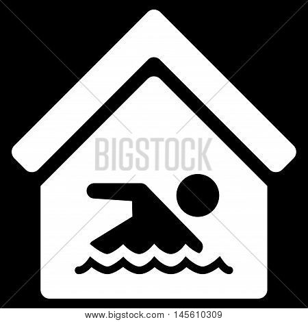 Indoor Water Pool icon. Vector style is flat iconic symbol white color black background.