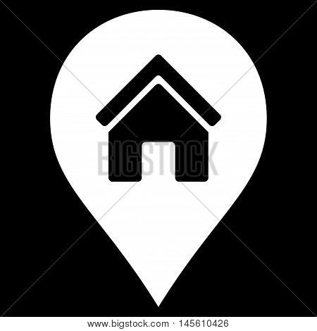 Realty Map Marker icon. Vector style is flat iconic symbol white color black background.