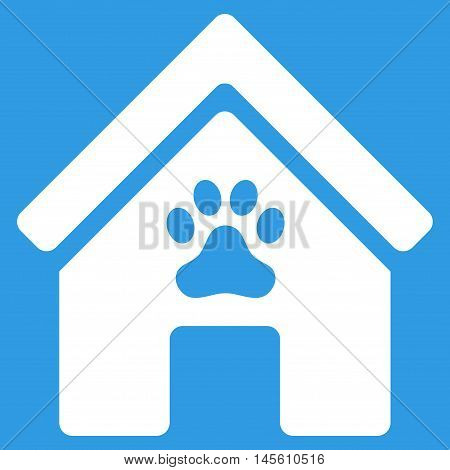 Doghouse icon. Vector style is flat iconic symbol, white color, blue background.