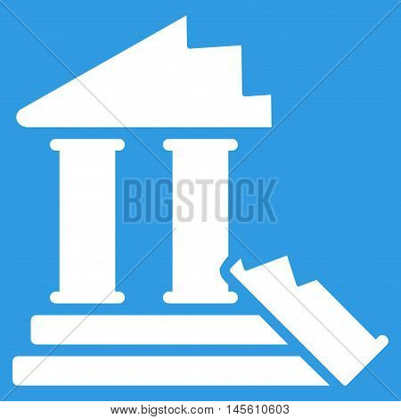 Historic Ruins icon. Vector style is flat iconic symbol white color blue background.
