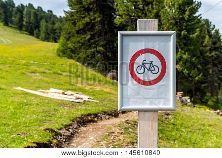 Close view on the roadsign forbidden for bikes