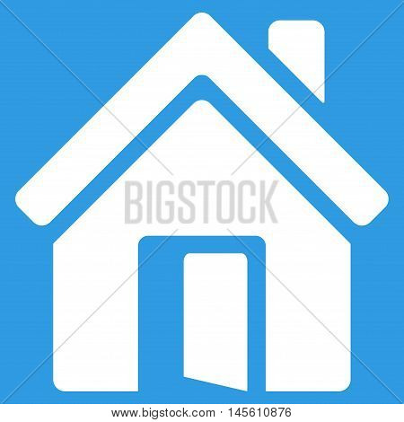 Open House Door icon. Vector style is flat iconic symbol white color blue background.