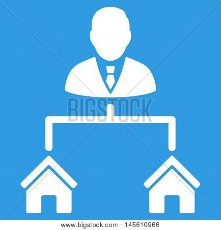 Realty Manager icon. Vector style is flat iconic symbol white color blue background.