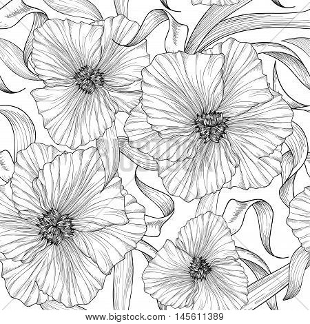 Floral seamless etching pattern. Flower background. Engraving seamless texture with flowers dahlia. Flourish tiled wallpaper