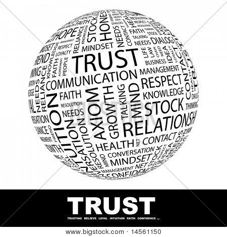 TRUST. Globe with different association terms. Wordcloud vector illustration.