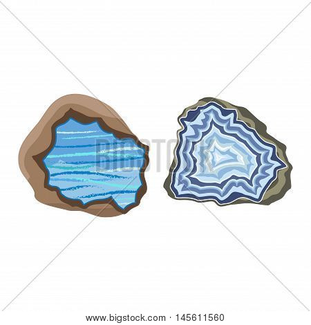 Semi precious gemstone stones and mineral stone isolated on white background. Colorful shiny gemstone. Mineral stone jewelry material agate mineral stone geology nature crystal.