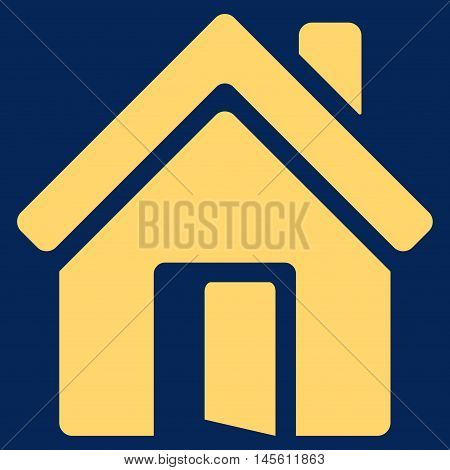 Open House Door icon. Vector style is flat iconic symbol yellow color blue background.