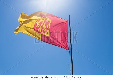 Isolated flag waving in the wind.