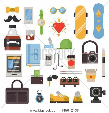 Huge set of vintage styled design hipster icons. Vector signs and symbols templates hipster icons design. Hipster icons set phone, gadgets, sunglasses, infographcs element and other things.