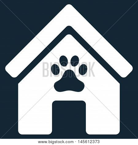 Doghouse icon. Vector style is flat iconic symbol, white color, dark blue background.