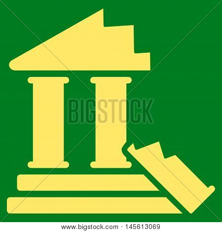 Historic Ruins icon. Vector style is flat iconic symbol, yellow color, green background.