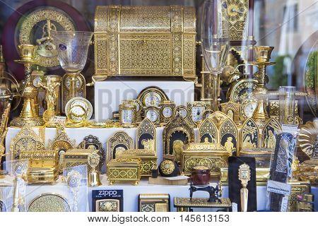 Toledo Spain - August 28 2016: Shop full of damascening plate handicrafts