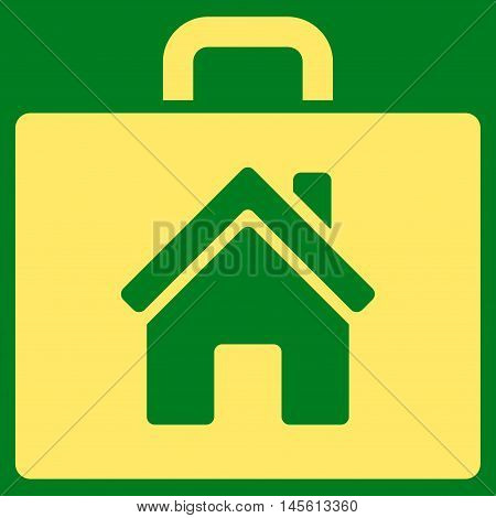 Realty Case icon. Vector style is flat iconic symbol yellow color green background.