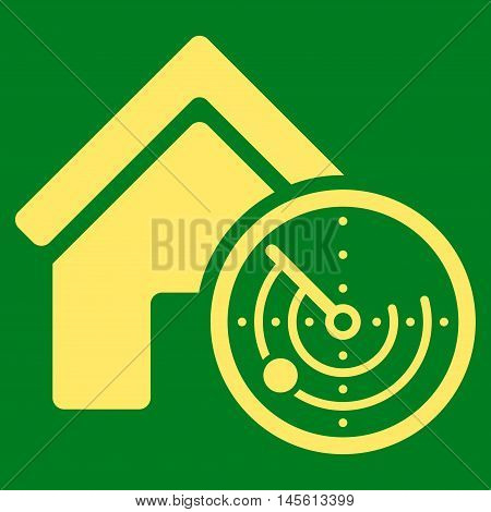 Realty Radar icon. Vector style is flat iconic symbol yellow color green background.