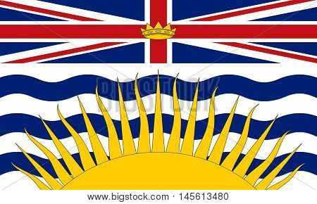 Flag of the Canadian province of British Columbia in correct size proportions and colors. Canadian BC patriotic element and official symbol. Canada banner and background. Vector illustration
