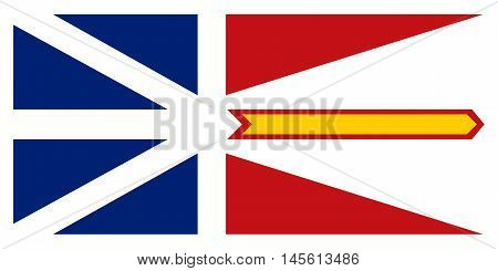 Flag of the Canadian province of Newfoundland and Labrador in correct size proportions and colors. Canadian NL patriotic element and official symbol. Canada banner and background. Vector illustration